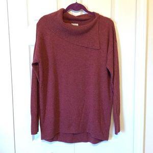 Nicole Miller Burgundy Split Cowl Cashmere Sweater